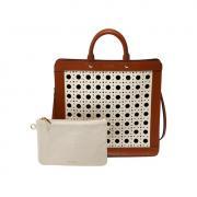 Перфорированная сумка с косметичкой-клатчем