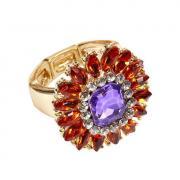 Кольцо с разноцветными кристаллами