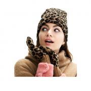 Набор из варежек и шапки с леопардовым принтом